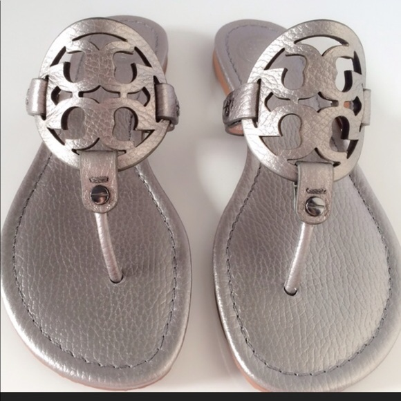 5e727dff6548c7 Tory Burch Miller Silver Tumbled leather sandal